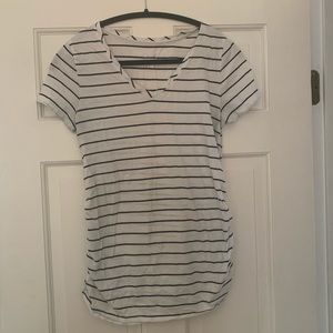 Black and white stripped fitted maternity tee